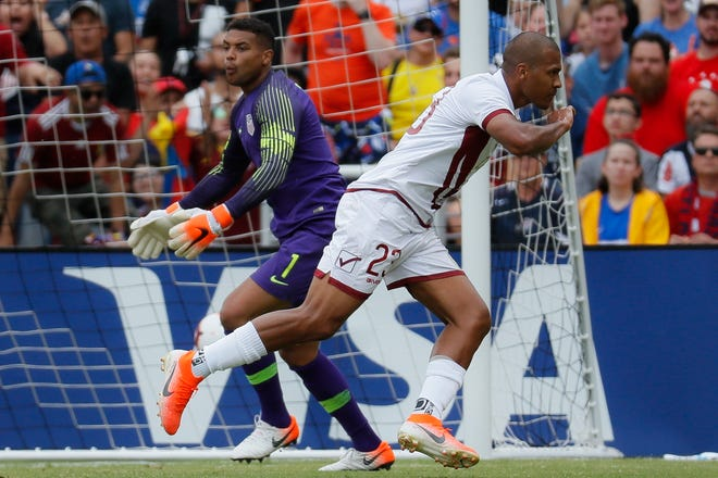 United States goalkeeper Zack Steffen (1) reacts after being scored on by Venezuela forward Jose Salomon Rondon (23) during the first half.