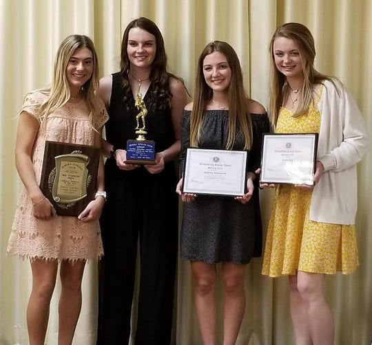 Elmira Kiwanis Club winners, from left, Avery Snyder of Horseheads, Bella Willsey of Thomas A. Edison, McKenna Woodworth of Horseheads and Kendal Cook of Horseheads.