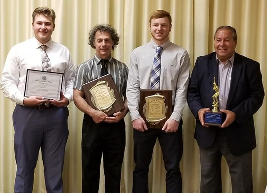 Elmira Kiwanis Club winners, from left, Tom Kane of Thomas A. Edison, Joe Condame of Edison and Nate Latshaw of Elmira. At right is Bill Limoncelli, grandfather of Harp O'Donnell Award winner Mike Limoncelli.