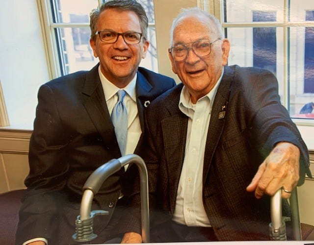 Evansville Mayor Lloyd Winnecke with his father, Ralph. Ralph Winnecke died Friday at age 89.