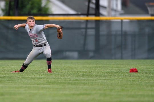 Southridge's Tucker Schank (8) recovers a ball that he nearly caught during the sixth inning of the IHSAA Class 2A semistates against the South Vermillion Wildcats at Alvin C. Ruxer Field in Jasper, Ind., Saturday, June 8, 2019. The Raiders defeated the Wildcats, 7-0.