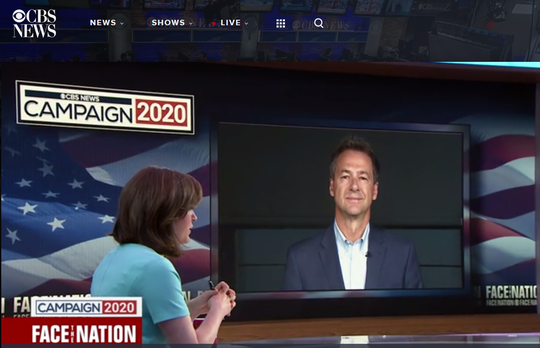 "Gov. Steve Bullock fields a question Sunday from Margaret Brennan on ""Face the Nation."""