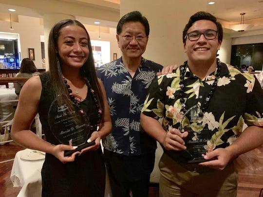 Alexia Brown and Matias Calvo were awarded the 2019 Shieh Su Ying Scholar Athlete Awards, Sunday evening, June 9, 2019.  From left: Brown, Dr. Thomas Shieh, Calvo.