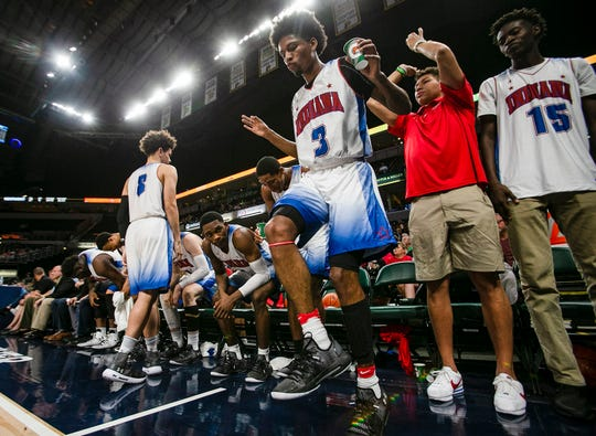 Zionsville Isaiah Thompson (3) celebrates during the Indiana All-Stars vs. Kentucky All-Stars game, Saturday, June 8, 2019, at Bankers Life Fieldhouse, Indianapolis.