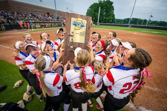 New Palestine High School took on Yorktown High School, Saturday, June 8, 2019, in the 35th Annual IHSAA Class 3A Softball State Finals at Bittinger Stadium on the campus of Purdue University in West Lafayette, Ind. New Palestine won the game 10-0.