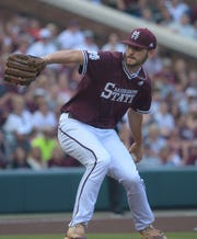 Starting pitcher Ethan Small delivers a pitch during Game 1 of the Super Regionals in Starkville against Stanford on Saturday, June 8, 2019.