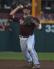 Mississippi State senior third baseman Marshall Gilbert often shifts to the right side of the infield because MSU head coach Chris Lemonis is observant of analytics and shifting.
