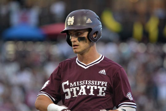Jake Mangum looks on after a base hit against Stanford during Game 1 of the Super Regionals on Saturday, June 8, 2019.