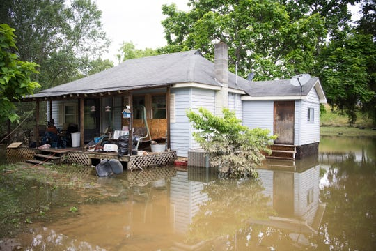 Randy Jones' house is seen in LaFollette, Tennessee on Sunday, June 9, 2019. Several inches of rain fell in a matter of hours Friday night causing flash flooding which damaged churches, homes, and businesses.