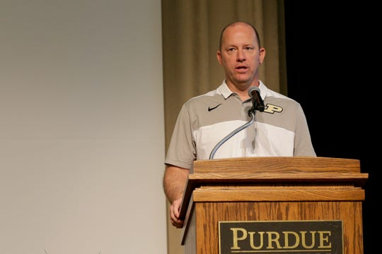 Purdue football head coach Jeff Brohm during the annual Joe Tiller Chapter of Northwest Indiana National Football Foundation honors dinner, Sunday, June 9, 2019, the Purdue Memorial Union in West Lafayette.