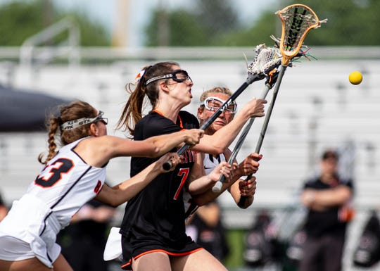Brighton's Gabby Mainhardt takes a shot during a 21-6 loss to Rockford in the state Division 1 lacrosse championship game at Novi on Saturday, June 8, 2019.