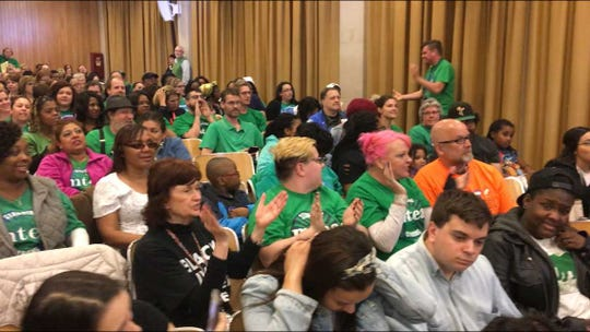 Members of the Milwaukee Teachers Education Association chant before a public hearing on the 2019-'20 Milwaukee Public Schools budget. The union pushed for a new pay schedule, saying it was needed to stabilize the district's workforce.