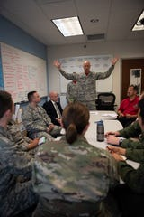 Col. Wayne Straw, Squadron Officer School commadant, gives his feedback to a group of SOS students who are participating in the school's Think Tank elective, May 31, 2019, Maxwell Air Force Base, Alabama. The Think Tank elective challenges Air Force captains to come up with solutions to big Air Force issues.