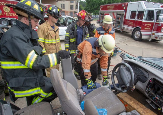 One of Montgomery Fire Department's heavy rescue teams held extrication training while hosting three firefighters from Chile.