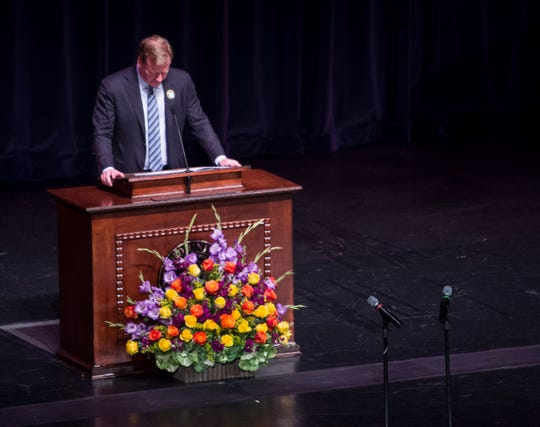 NFL commissioner Roger Goodell becomes emotional as he speaks during a memorial service for NFL legend Bart Starr at the Wright Center in Birmingham, Ala., on Sunday, June 9, 2019.