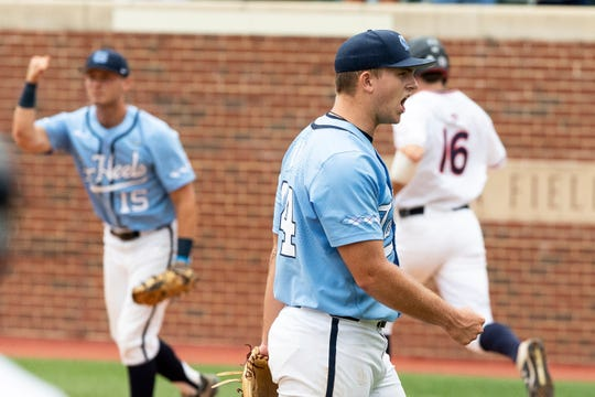 North Carolina's Austin Love (44) reacts after completing the final out of a victory over Auburn in a Super Regional in Chapel Hill, N.C., Sunday, June 9, 2019.