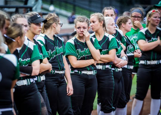 Yorktown was defeated 10-0 during their state final game against New Palestine at Purdue's Bittinger Stadium Saturday, June 8, 2019.