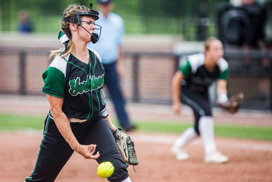 Yorktown's Kaylyn Coahran pitches against New Palestine during their state final game at Purdue's Bittinger Stadium Saturday, June 8, 2019.