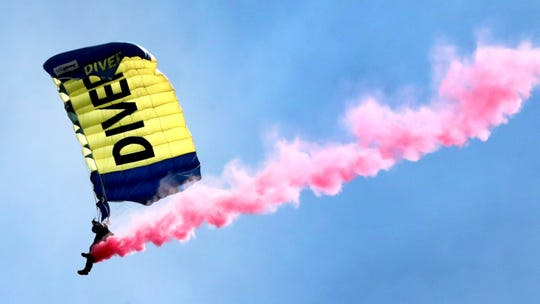 The U.S. Navy Leap Frogs perform during The Great Tennessee Air Show on Saturday, June 8, 2019, at the Smyrna Airport.