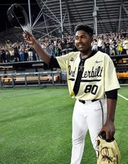 Vanderbilt Kumar Rocker (80) celebrates his no-hitter, beating Duke 3-0 in the NCAA Division I Baseball Super Regionals at Hawkins Field Saturday, June 8, 2019, in Nashville, Tenn.