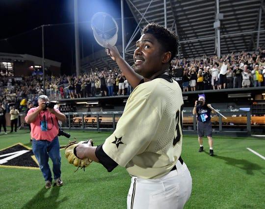Vanderbilt pitcher Kumar Rocker (80) celebrates his no-hitter, beating Duke 3-0 in the NCAA Division I Baseball Super Regionals at Hawkins Field Saturday, June 8, 2019, in Nashville, Tenn.