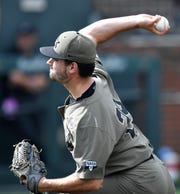 Vanderbilt pitcher Patrick Raby (29) comes in to pitch in the fifth inning against Duke during the NCAA Division I Baseball Super Regionals at Hawkins Field Sunday, June 9, 2019, in Nashville, Tenn.