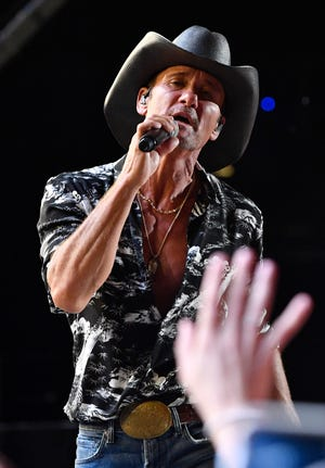 Tim McGraw performs during the 2019 CMA Fest at Nissan Stadium in Nashville.