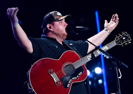 Luke Combs performs during the 2019 CMA Fest Saturday, June 8, 2019, at Nissan Stadium in Nashville, Tenn.