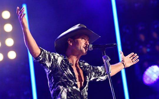 Tim McGraw performs during the 2019 CMA Fest at Nissan Stadium Sunday, June 9, 2019, in Nashville, Tenn.
