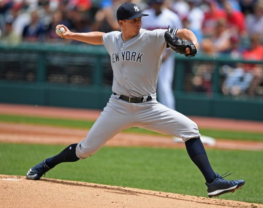 New York Yankees starting pitcher Chad Green delivers in the first inning of a baseball game against the Cleveland Indians, Sunday, June 9, 2019, in Cleveland. (AP Photo/David Dermer)