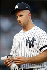 New York Yankees Brett Gardner threw his batting helmet against the dugout wall and it came back at him, causing a split lower lip which required six stitches.