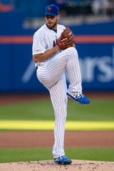 Jun 8, 2019; New York City, NY, USA; New York Mets pitcher Steven Matz (32) delivers a pitch during the first inning against the Colorado Rockies at Citi Field.