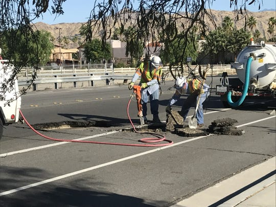 Traffic was diverted Saturday along Avenida Caballeros in Palm Springs after a sinkhole formed in the roadway. Desert Water Agency workers were called out to fix the hole.
