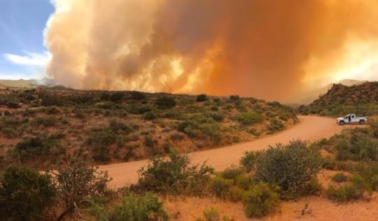 The Mountain Fire burns on the Tonto National Forest toward Horseshoe and Bartlett Lake. The fire is human-caused and was first reported June 7, 2019.