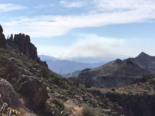 The Woodbury Fire burns in the Tonto National Forest on June 9, 2019.