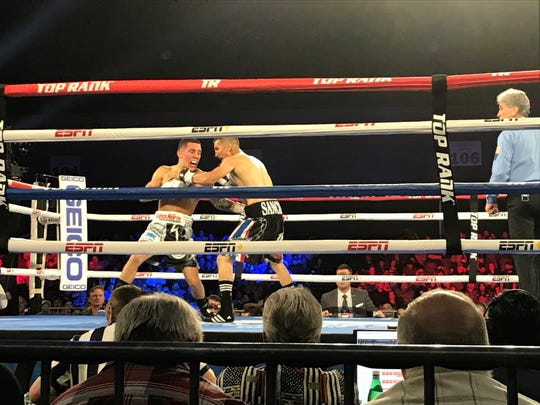 Oscar Valdez (white trunks) defeated Jason Sanchez by unanimous decision Saturday at the Reno-Sparks Convention Center.