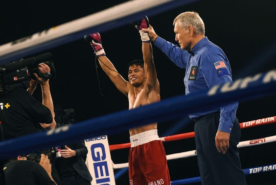 Reno's J.J. Mariano defeats William Flenoy by way of TKO during a Top Rank boxing event at the Reno-Sparks Convention Center on June 8, 2019.