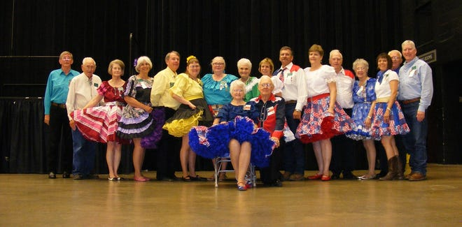The Texas Sate Federation of Square and Round Dance festival of 2015 held in Waco attracted many San Angelo square dancers. They are, from left, Mickey Lanty, Bill Stovall, Dixie Porter, Cathy Williams, Wynn Alston, Merilda Horton, Rosalie Lanty, Dorthy Morgan, Karen and Wes Thiers, Sheila and Gene Oleson, Lydia Horton, Denise Huffman, Charles Horton, Nora Geen and John Geen.