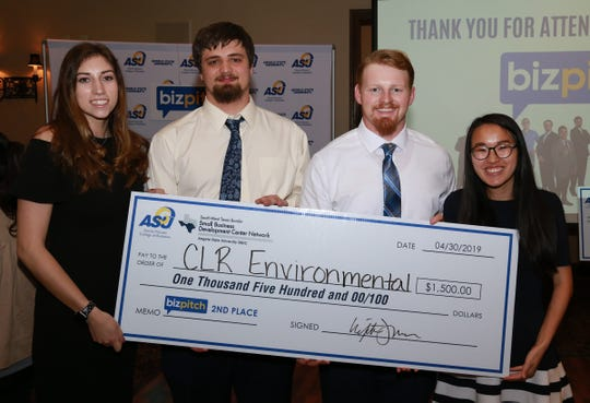 CLR Environmental earned second place during the 2019 Angelo State University's BizPitch contest. CLR founders are, from left, Bailey Dominguez, Brian Watson, Colby Roach and Jamie Couch.