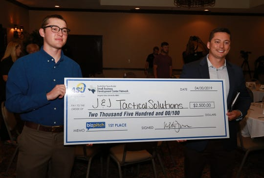 J&J Tactical Solutions' Jesse Lee, left, and Justin O'Brien took first place during the Angelo State University's BizPitch competition.