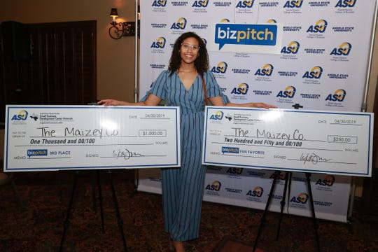 The Maizey Co. founder Raelyn Hill earned third place during the Angelo State University BizPitch competition.