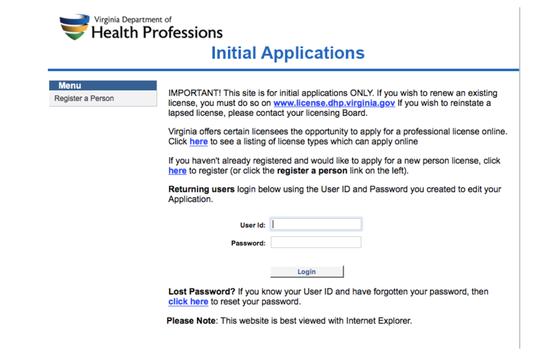 Virginia Dept. of Health Professions application to register for medical marijuana.