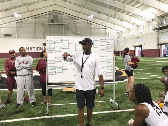 FSU football head coach Willie Taggart talks with players from Colquitt County and Valdosta after the 7 on 7 championship game on Saturday, June 8, 2019.