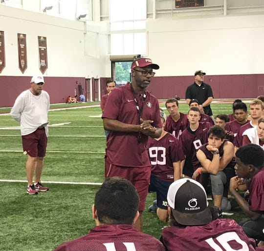 Florida State head coach Willie Taggart addresses the players at the conclusion of the Specialists Camp on Sunday, June 9, 2019.