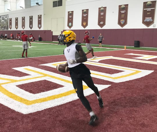 Tarrell Roberts of Valdosta High School scores a touchdown versus Thomasville in the 7 on 7 Passing Camp at Florida State on Saturday, June 8, 2019.