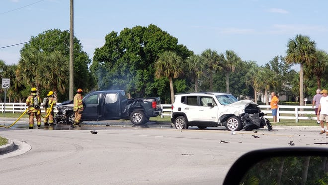 Firefighters responded Sunday morning to a crash and vehicle fire at 66th Avenue and Eighth Street. Three people suffered minor injuries.