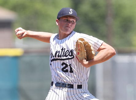 Suffern's Jack Scanlon pitching against   Kingston during the Class AA state regional final game at Cantine Field in Saugerties, NY June 8, 2019. Suffern won the game 8-6.