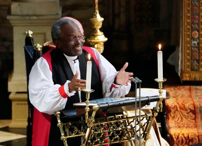 The Most Rev. Bishop Michael Curry gives an address during the wedding of Prince Harry and Meghan Markle in St George's Chapel at Windsor Castle on May 19, 2018 in Windsor, England.
