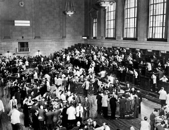 Traders on Wall Street as the New York Stock Exchange crashed in October 1929.