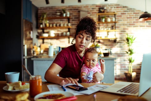 Working moms make 69 cents of what dads are paid.